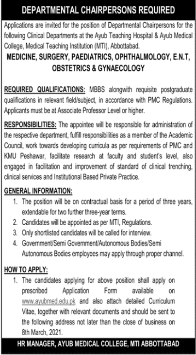 Ayub Medical College Jobs 2021 For Chairpersons