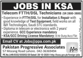 Telecom FTTH & DSL Technicians Jobs 2021 For Lahore