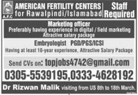 American Fertility Centers Jobs in Rawalpindi & Islamabad