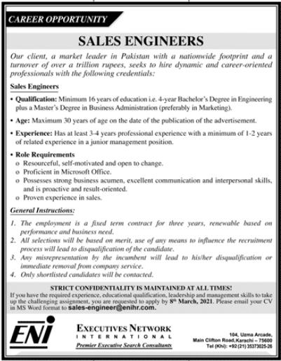 Sales Engineers Jobs 2021 in Karachi
