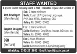 Joint Testing Services Pakistan JTS Jobs 2021 in Islamabad