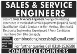 Sales & Service Engineers Jobs 2021 in Islamabad