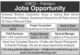Universal Brothers Corporation Group UBCG Jobs 2021
