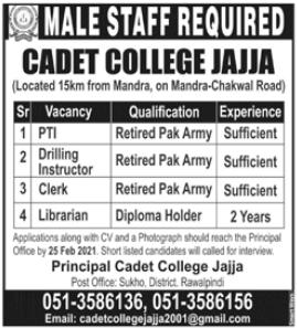 Pakistan Army Cadet College Jajja Jobs 2021