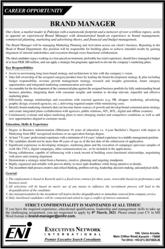 Brand Manager Job 2021 in Karachi
