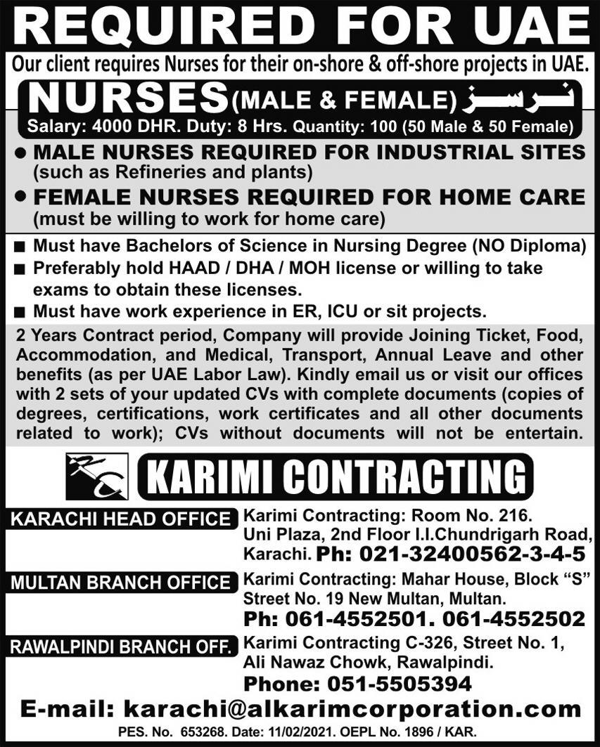 Nurses Jobs 2021 in United Arab Emirates