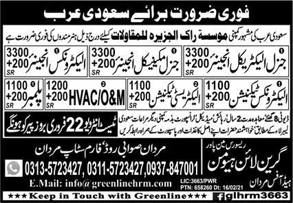 Technical Staff Jobs 2021 For Saudi Arabia