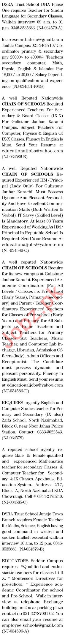 The News Sunday Classified Ads 21st Feb 2021 for Teachers
