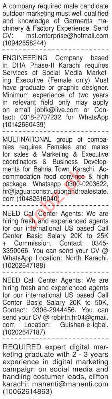 Dawn Sunday Classified Ads 21st Feb 2021 for Marketing Staff