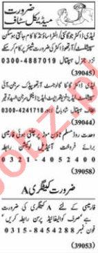 Nawaiwaqt Sunday Classified Ads 21st Feb 2021 Medical Staff
