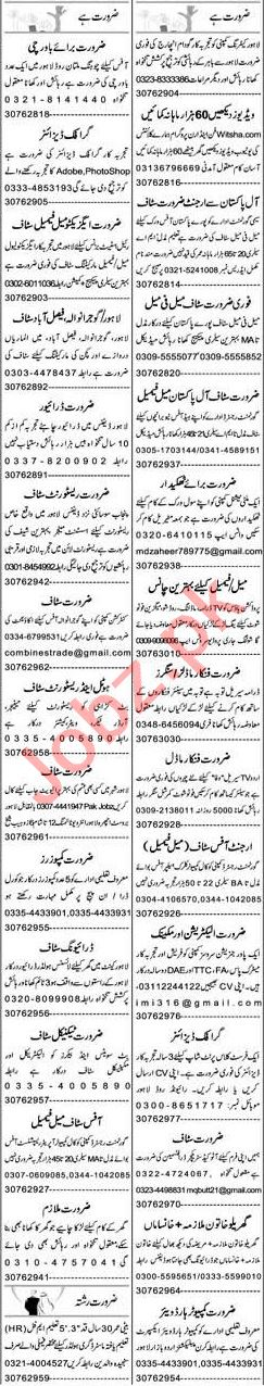 Express Sunday Lahore Classified Ads 21st Feb 2021