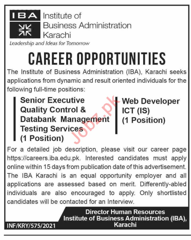 Institute of Business Administration IBA Karachi Jobs 2021