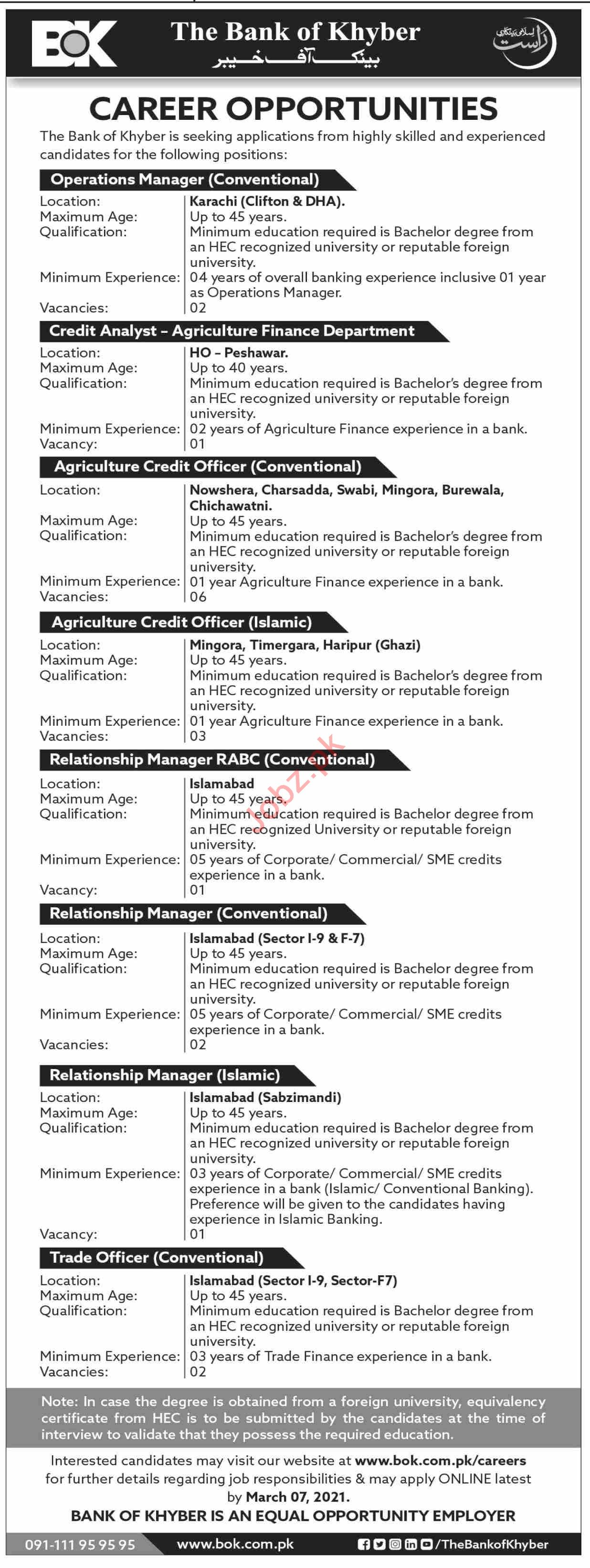 The Bank of Khyber BOK Jobs 2021 for Operations Manager
