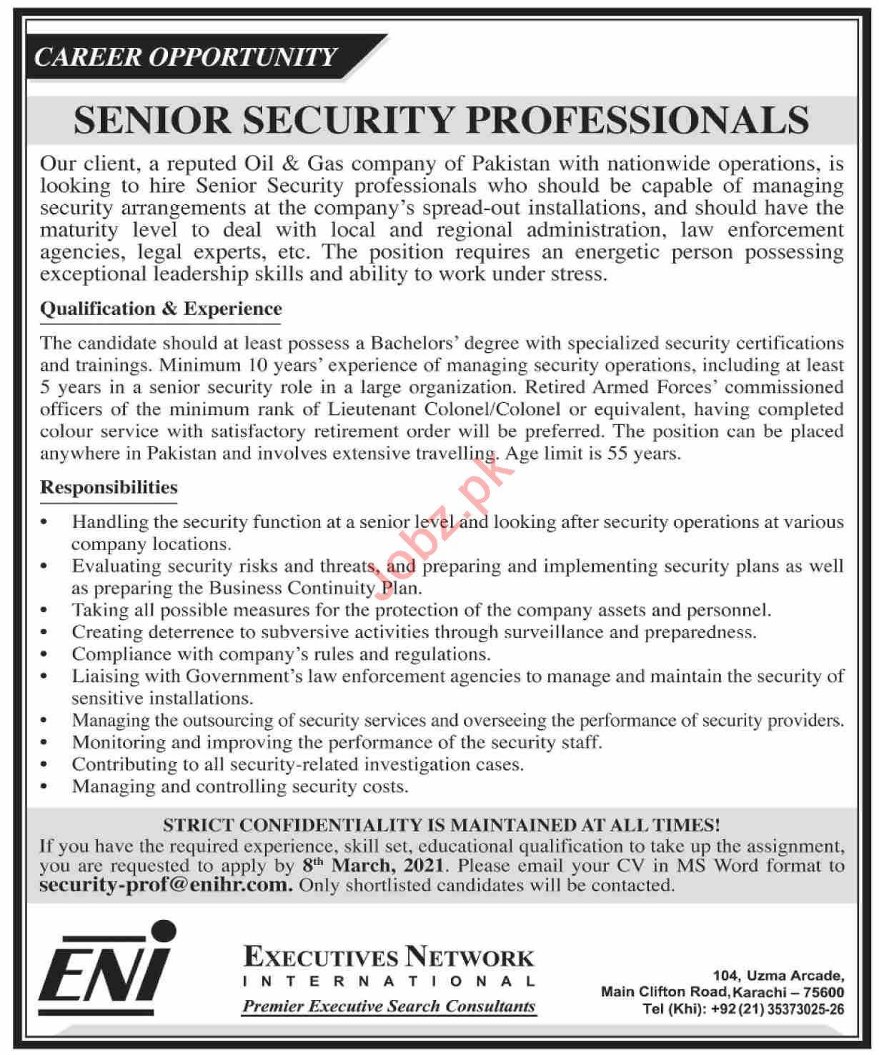 Senior Security Professional Jobs 2021 in Karachi