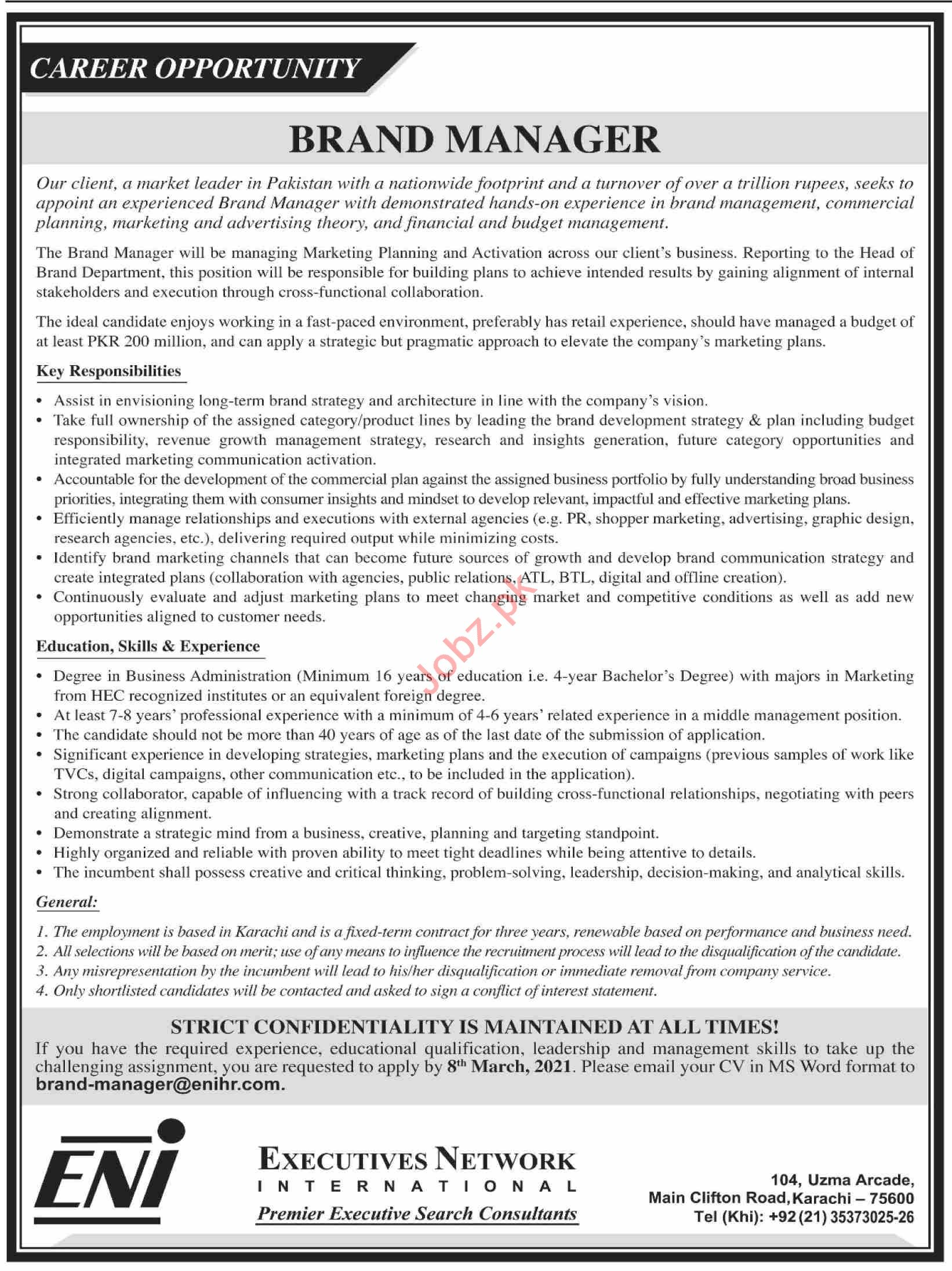 Brand Manager Jobs 2021 in Executives Network International