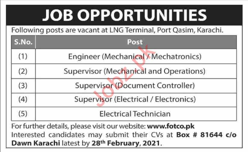 Fauji Oil Terminal & Distribution Company FOTCO Jobs 2021
