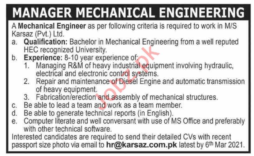 Manager Mechanical Engineering Jobs 2021 in Karsaz Karachi