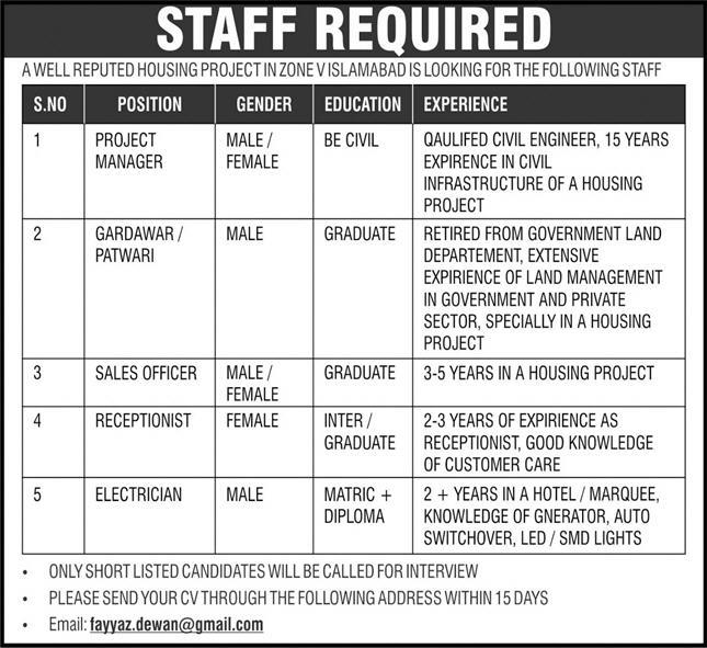 Housing Project Jobs 2021 in Islamabad
