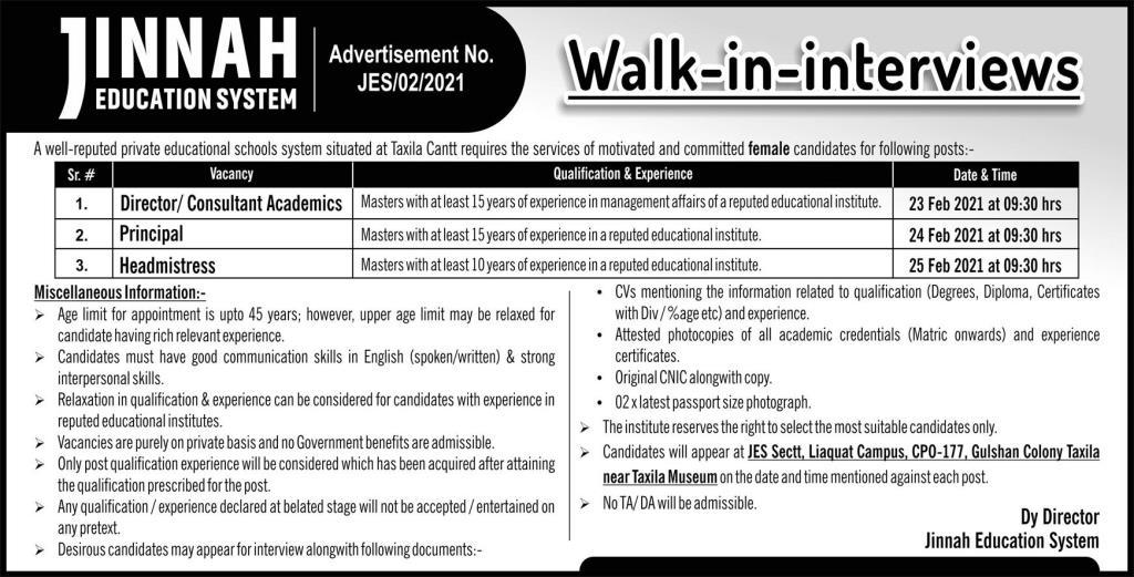 Jinnah Education System Walk In Interviews 2021