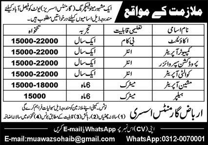 Manufacturing Company Jobs 2021 in Faisalabad