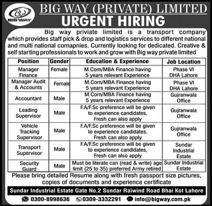 Big Way Private Limited Jobs 2021 in Lahore & Gujranwala