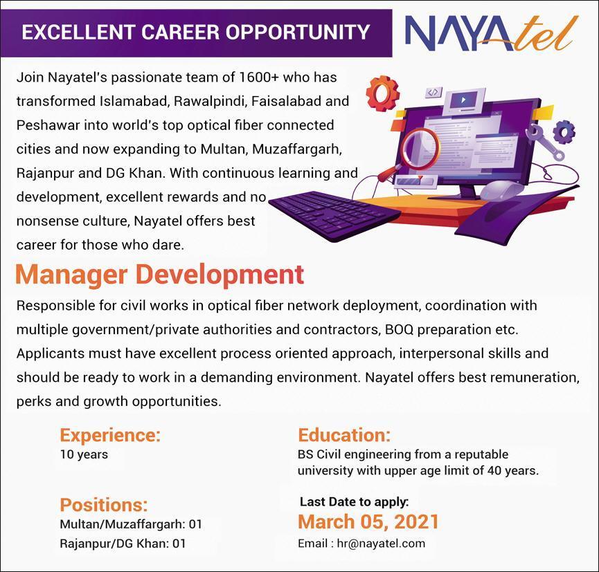 Nayatel Pvt Limited Jobs 2021 For Manager Development