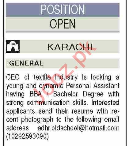 Personal Assistant & Secretary Jobs 2021 in Karachi