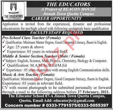 The Educators Jinnah Town Quetta Campus Jobs 2021