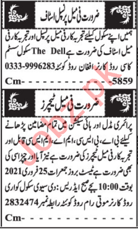 Female Teacher & Subject Teacher Jobs 2021 in Quetta