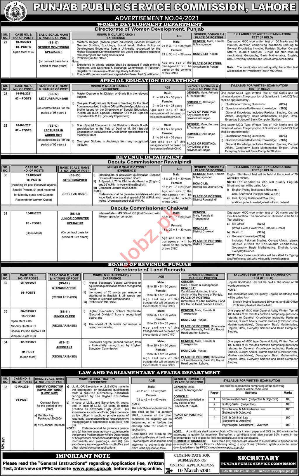 Punjab Public Service Commission PPSC Jobs March 2021