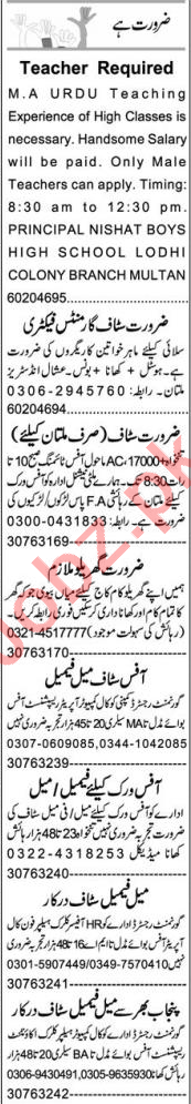 Assistant Manager Production & Teachers Jobs 2021 in Multan