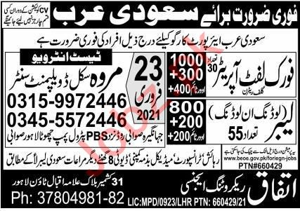 Fork Lift Operator & Unloading Labor Jobs 2021 in KSA