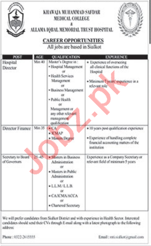 Govt Khawaja Muhammad Safdar Medical College Jobs 2021