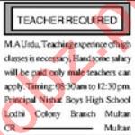 Subject Teacher & Female Teacher Jobs 2021 in Multan