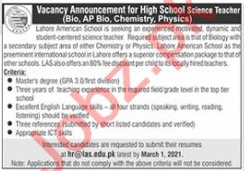 Teachers Jobs 2021 in Lahore American School LAS