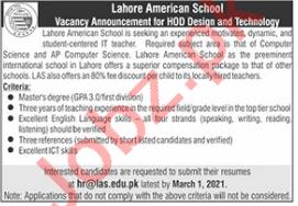 Head of Department Jobs in Lahore American School LAS