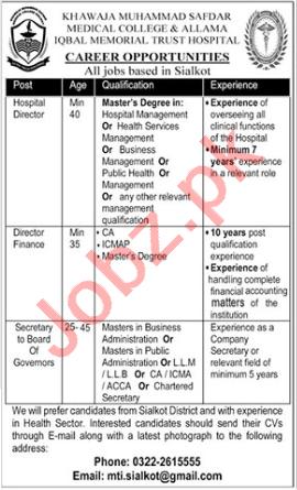 Allama Iqbal Memorial Trust Hospital Sialkot Jobs 2021