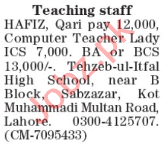 Tehzeeb ul Atfal High School Lahore Jobs 2021 for Teachers