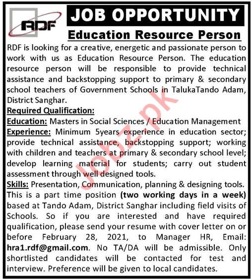 Research & Development Foundation RDF Sanghar Jobs 2021