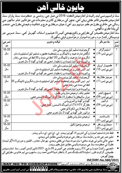 Sindh Transparency & Right to Information Karachi Jobs 2021