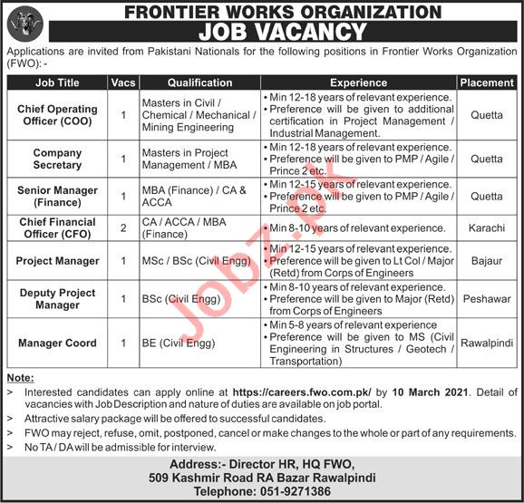 Frontier Works Organization FWO Rawalpindi Jobs 2021