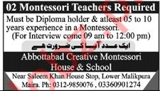Abbottabad Creative Montessori House & School Jobs 2021