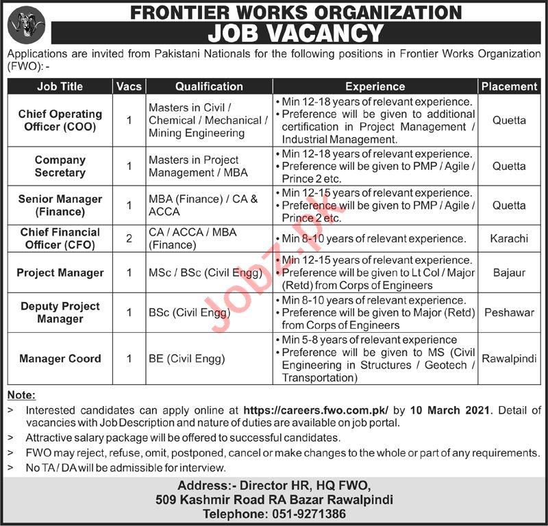 FWO Rawalpindi Jobs 2021 for Company Secretary & Manager