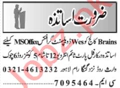 Teacher & Teaching Assistant Jobs 2021 in Lahore