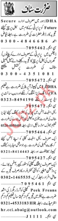 Graphic Designer & Lady Secretary Jobs 2021 in Lahore