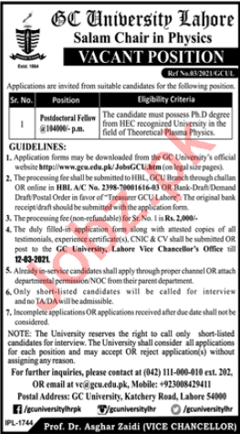 GC University Lahore Salam Chair Physics Jobs 2021