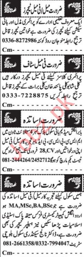 Principal & Primary Teacher Jobs 2021 in Quetta