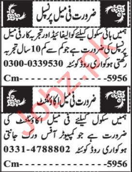 Female Accountant & Teacher Jobs 2021 in Quetta