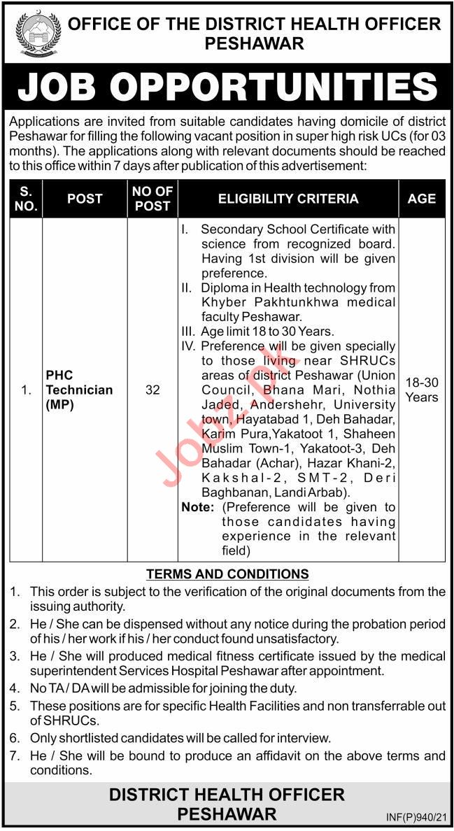 District Health Office DHO Peshawar Jobs 2021 for Technician
