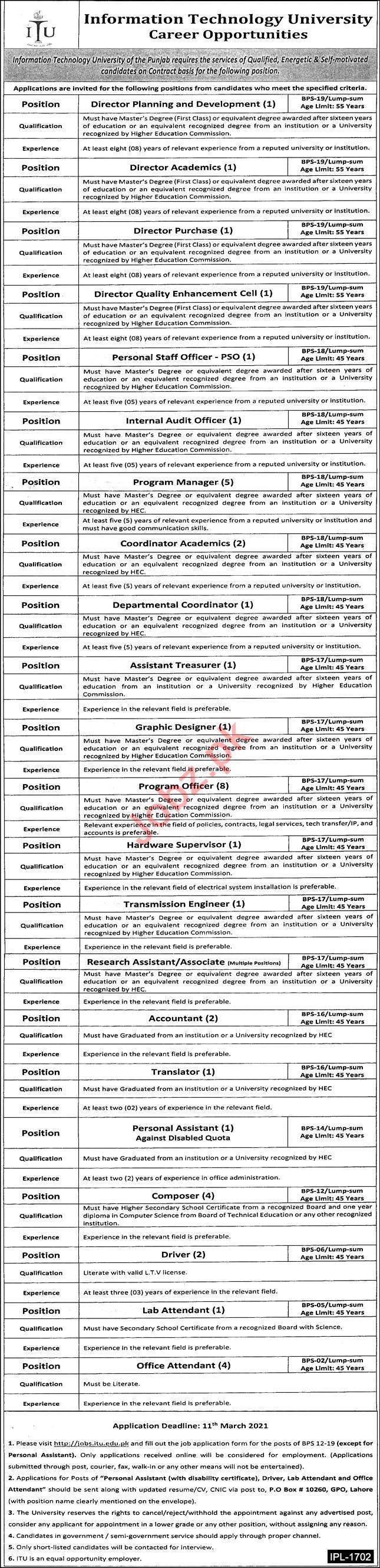 information Technology University ITU Jobs for Directors